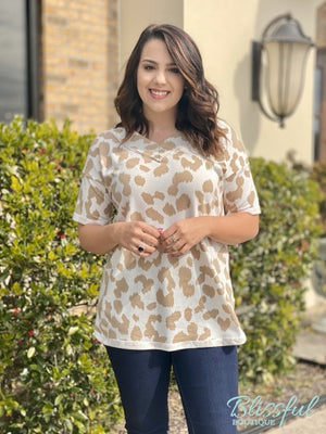 Taupe Animal Print French Terry Short Sleeve Top