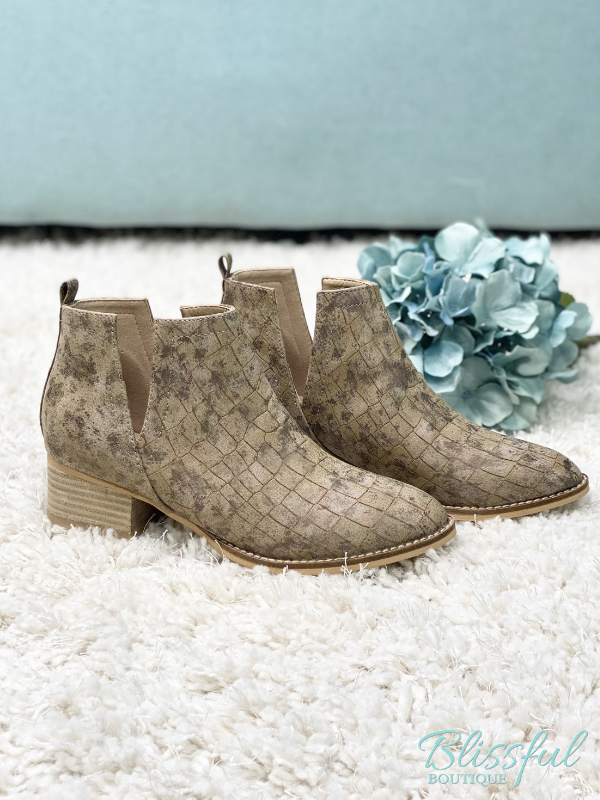 Taupe Croc Pattern Bootie