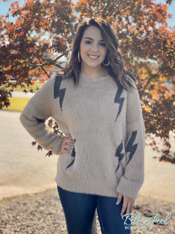 Taupe Fuzzy Lightning Bolt Sweater