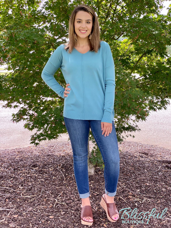 Teal V-Neck Front Seam Soft Sweater