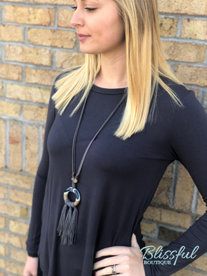 Dark Grey Long Sleeve Layering Tunic