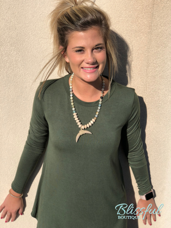 Army Green Long Sleeve Layering Tunic
