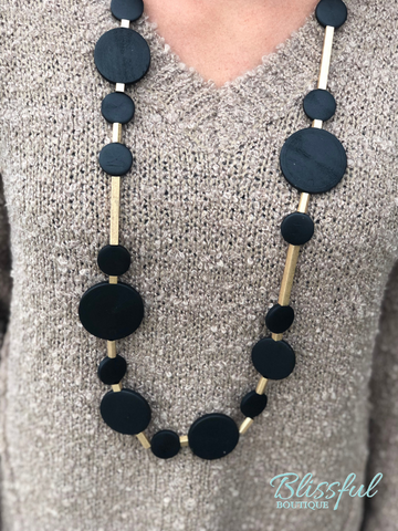 Wood and Metal Beaded Necklace