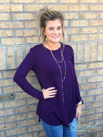 Eggplant Long Sleeve Layering Tunic