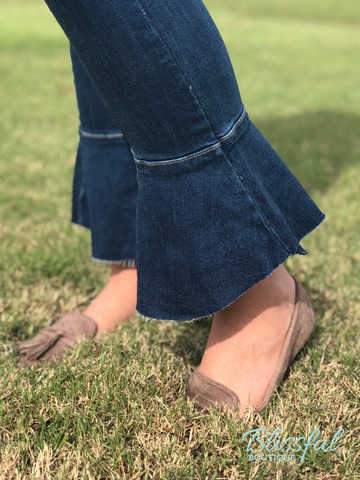Dark Ruffle Flare Bottom Denim