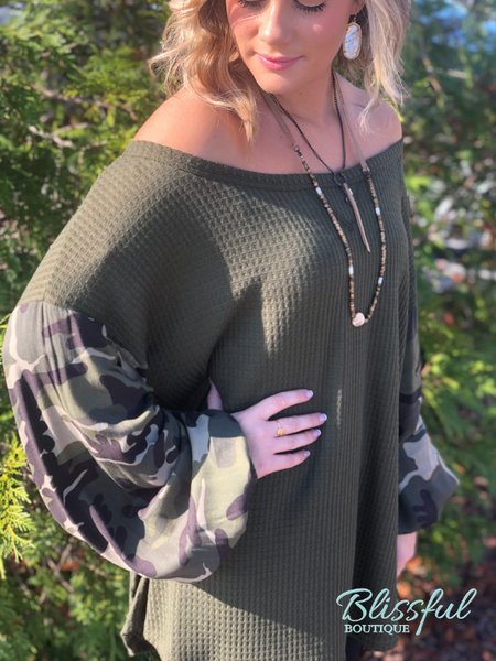 Olive Thermal Top w/ Camo Sleeves