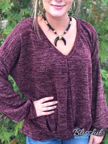 Wine Marbled Twisted Front Sweater Top