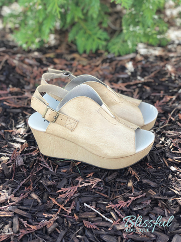 Soft Beige Platform Wedge Sandal