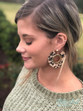 Leopard Leather Trim Circle Earrings