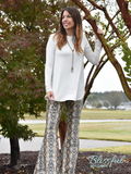 Brown Snakeskin Printed Flare Pants