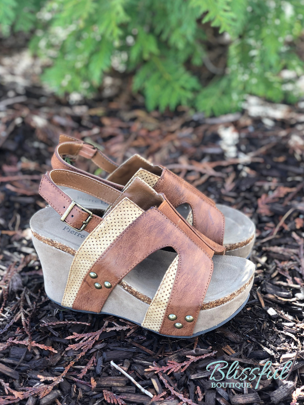 4f9f68066 2-Tone Tan & Brown Wedge Sandal | Blissful Boutique
