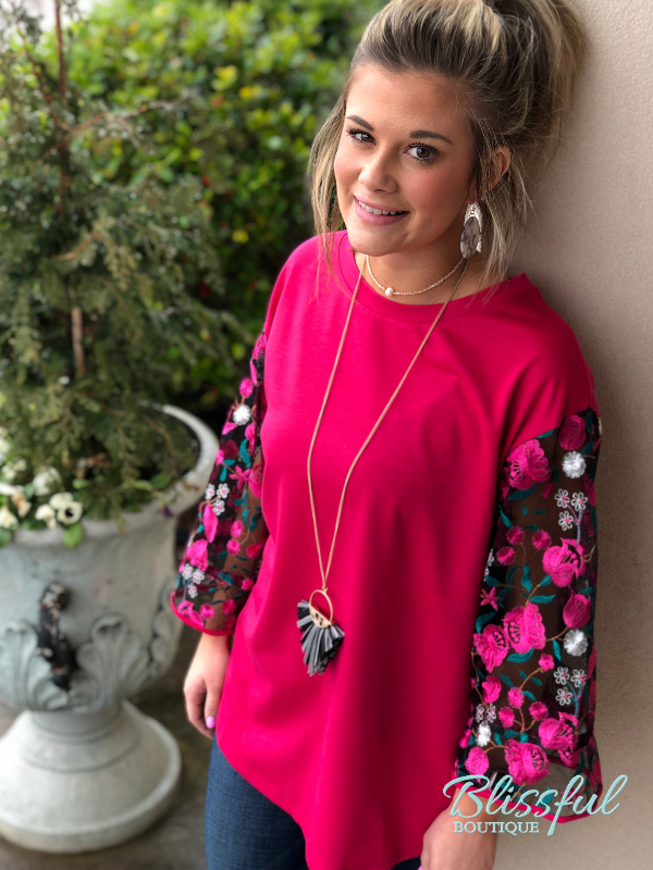 Fuchsia Embroidered Mesh Sleeve Top