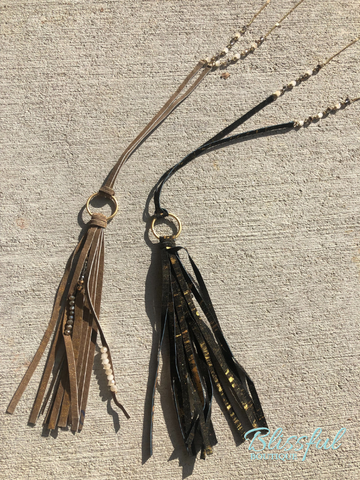 Faux Leather Necklace w/ Tassel