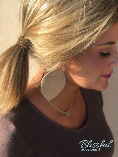 Natural/Gold Feather Earrings
