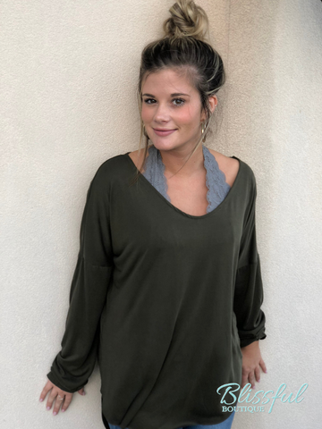 Olive Scoop Neck Top