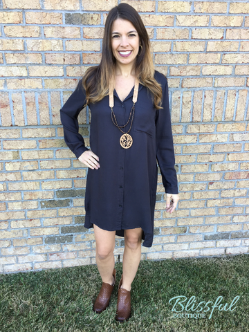 Charcoal Button Down Shirt Dress