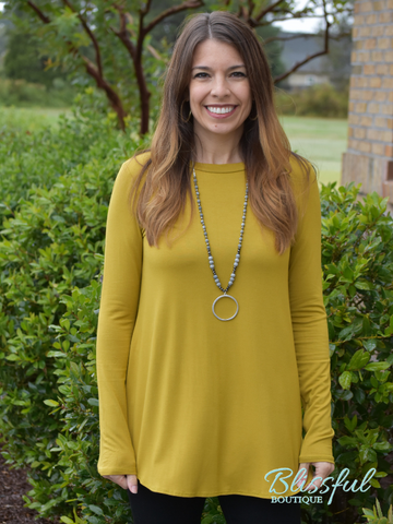 Dark Mustard Long Sleeve Layering Tunic