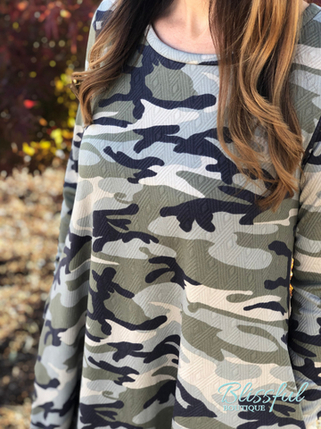 Camo Long Sleeve Tee Dress