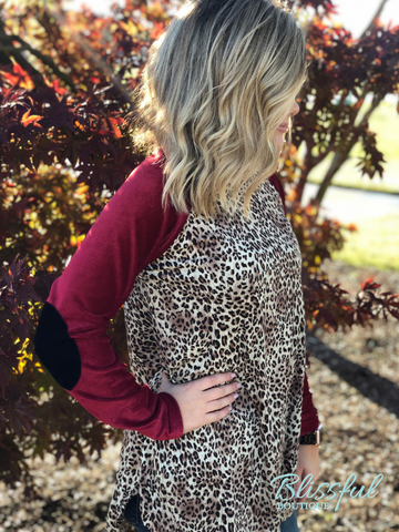 Burgundy & Leopard Elbow Patch Top