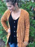 Mustard Chenille Feel Button Cardigan