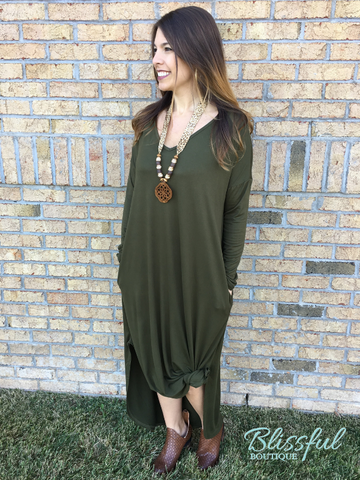 Olive Long Sleeve Maxi Dress