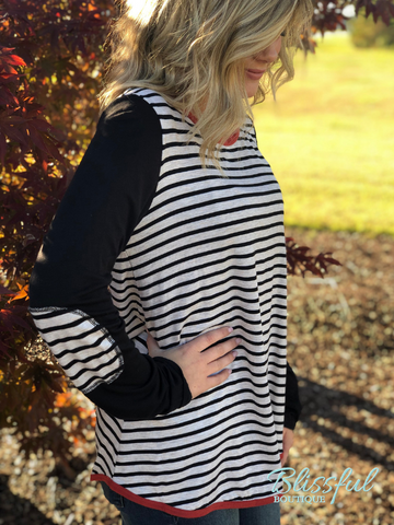 Contrast Striped Elbow Patch Top