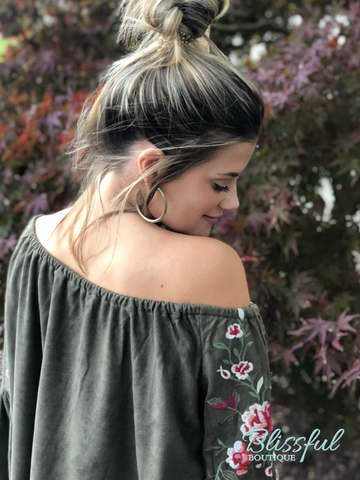 Olive Suede Off Shoulder Top w/ Floral Embroidery