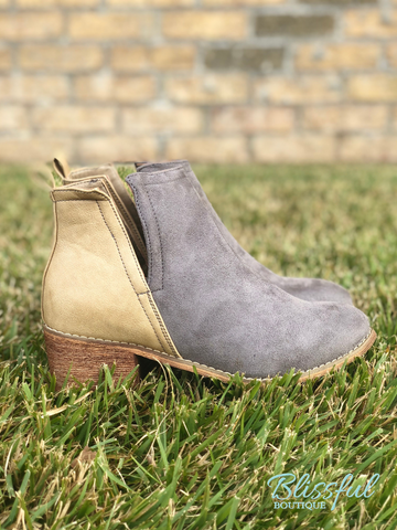 Grey & Taupe Slit Side Bootie