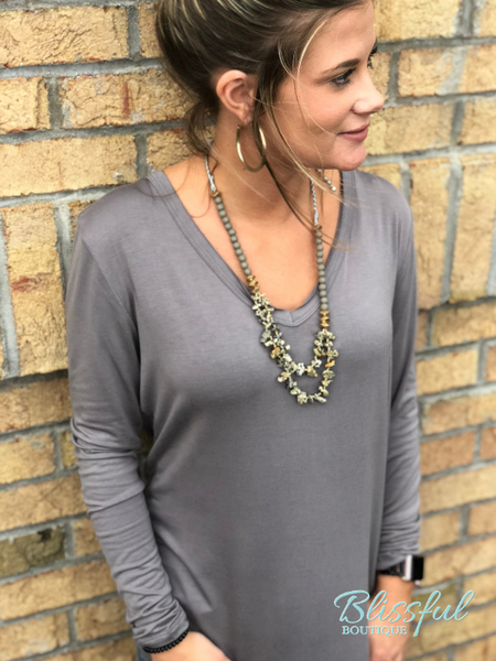 Smoke Grey V-Neck Top