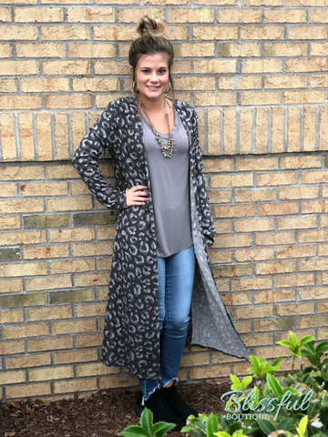 Charcoal Animal Print Long Cardigan