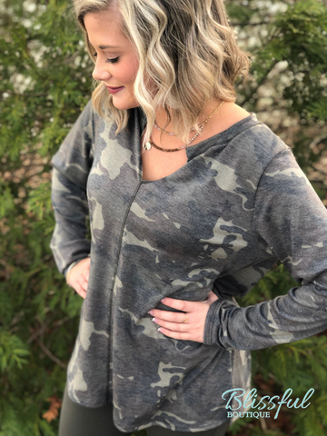 Camo V-Neck Long Sleeve Top