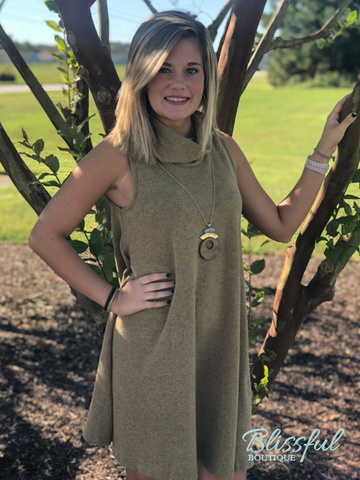 Camel Sleeveless Cowl Neck Top