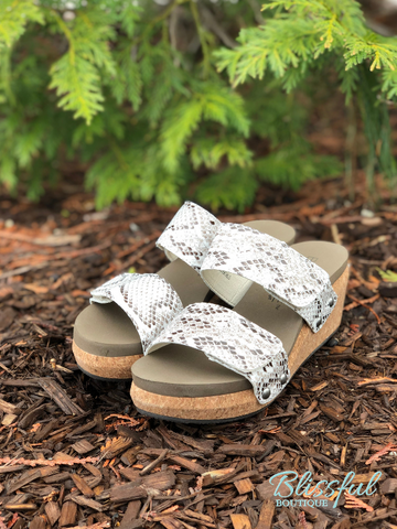 Snake Slide-In Wedge Sandal