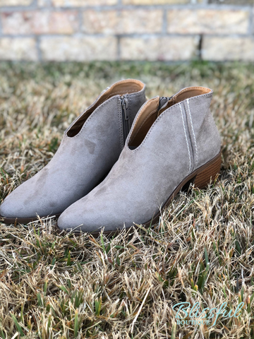 Taupe Suede V Cut Bootie