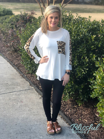 Ivory Animal Print Accented Top