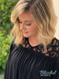 Black Lace Shoulder Top w/ Puff Sleeves