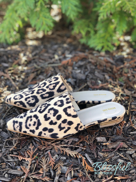 Leopard Slide-On Mules