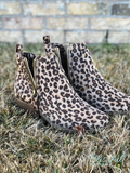 Leopard Print Short Hair Zip Detail Booties
