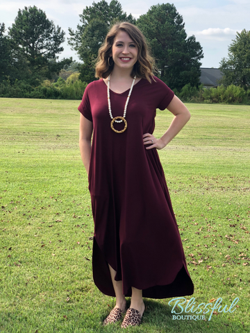 Burgundy V-Neck Maxi Dress