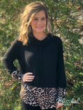 Black Cowl Neck Top w/ Leopard Accents
