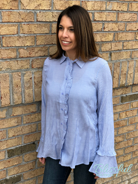 Lt Blue Button Down Shirt w/ Ruffle Detail