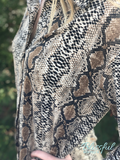 Taupe Snakeskin Button Up Top