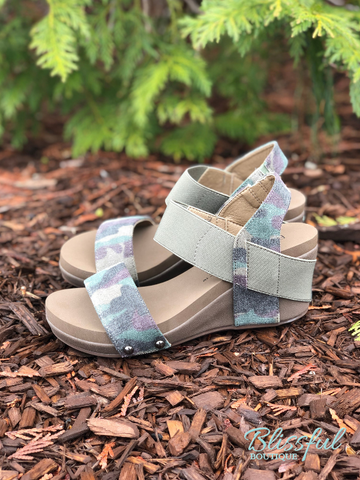Camo Wedge Sandal