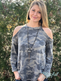 Camo Cold Shoulder Top w/ Flare Sleeves