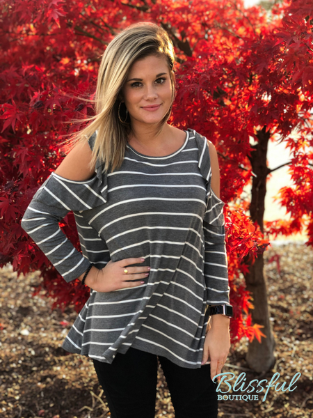 Grey & White Stripe Ruffle Cold Shoulder Top