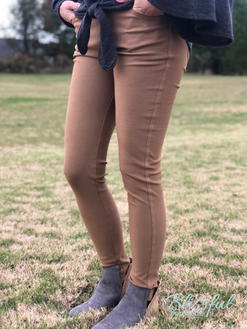 Khaki Skinny Leg Jeggings, PLUS