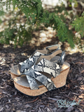 Snakeskin Wedge Sandals
