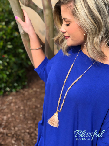 Royal Blue Bamboo 1/2 Sleeve Tunic