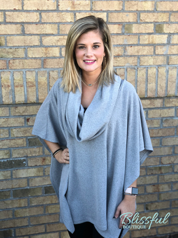 Grey Cowl Neck Poncho Style Top