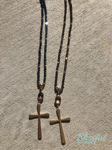 Necklace w/ Faceted Beads & Cross Detail
